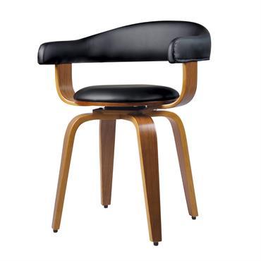 Chaise avec accoudoirs en cuir synthétique noir