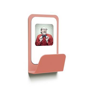 Patère cadre photo métal rose