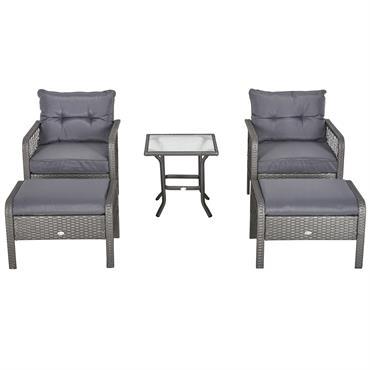 Lot de 2 fauteuils de jardin avec repose-pied table basse résine grise