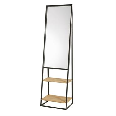 Miroir étagères en métal noir et sapin 45x161
