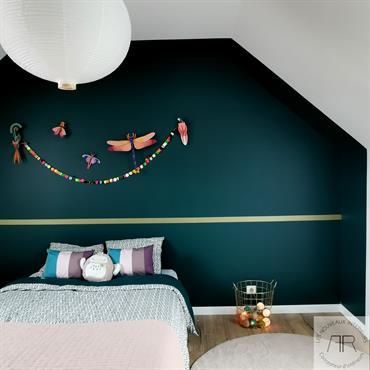 Nouvelle décoration pour la chambre d'une petite fille. Du vert et du doré, voilà sa demande lorsque j'ai pensé ce décor ... Domozoom