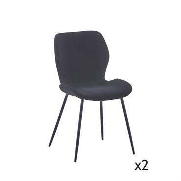 Lot de 2 chaises en velours noir