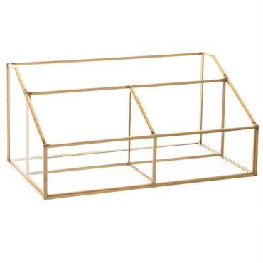 Range courrier en métal doré et verre