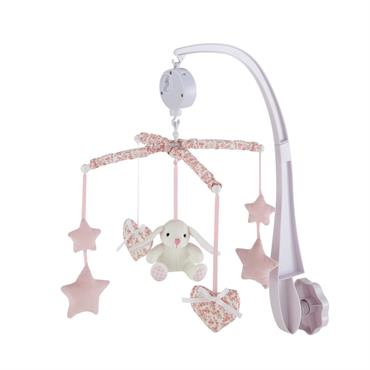 Pour aider votre enfant à s'endormir, ce mobile musical diffusera une douce mélodie. Idéal comme berceuse, ce mobile rose trouvera facilement sa place sur le berceau de votre petite princesse. ...