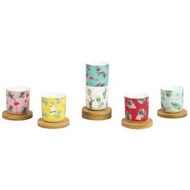 Coffret 6 tasses à café en porcelaine avec soucoupes en bambou