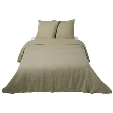 Parure de lit en lin lavé vert kaki 240x260