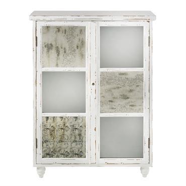 Cabinet de rangement 2 portes blanc effet vieilli Faustine
