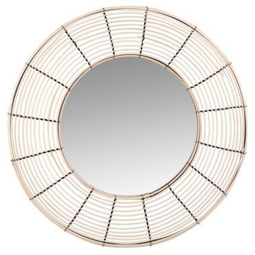 Miroir rond en métal noir et rotin D60