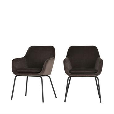 2 fauteuils de table en velours gris anthracite
