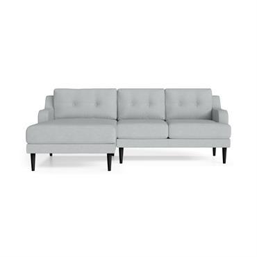 Canapé d'angle gauche 4 places toucher lin bleu clair