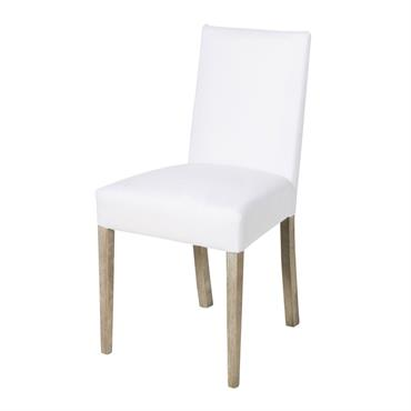 2 chaises à housser blanches et pieds en pin massif Diana