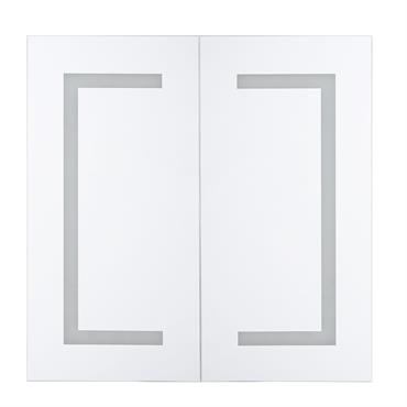 Armoire de toilette blanche avec miroir LED 60 x 60 cm