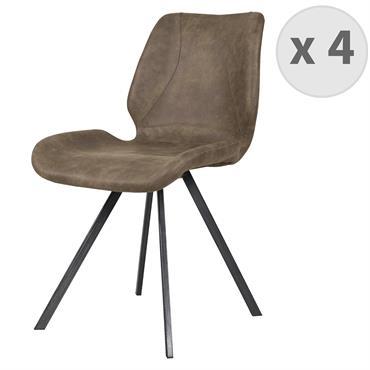 HORIZON-Chaise indus microfibre brun vintage et noir brossé