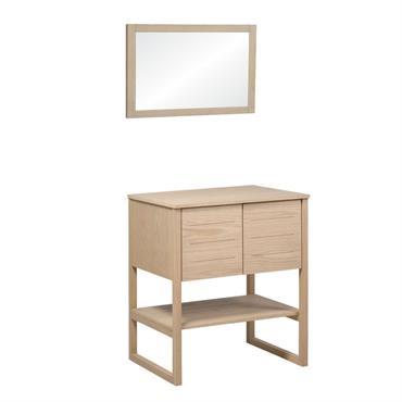 Meuble de salle de bain avec miroir effet bois clair