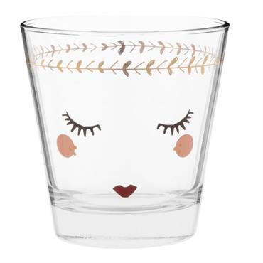 Gobelet en verre imprimé visage