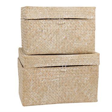 Coffres en fibre végétale tressée