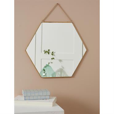Miroir hexagonal doré doré