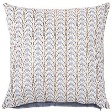 Housse de coussin en coton bleu motifs graphiques 40x40