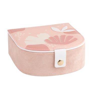 Boîte à bijoux rose motif floral