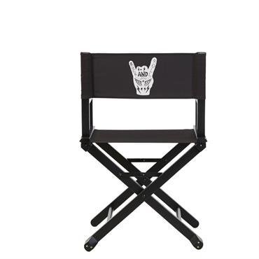 Chaise cinéma en acacia et toile noirs imprimé main Rebel