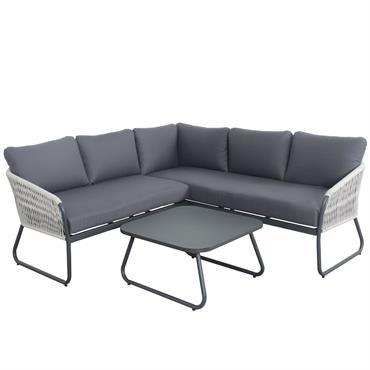 Salon de jardin 5 places avec cordes gris en aluminium