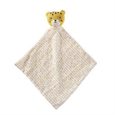 Doudou bébé tigre en coton jaune moutarde et blanc