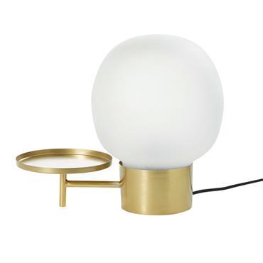 Lampe avec tablette en verre blanc et métal doré