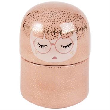 Boîte à bijoux poupée en céramique rose