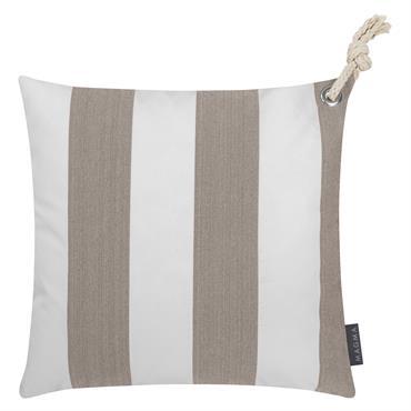 Housses de coussin rayées taupe/blanc avec corde- Lot de 2-40x40
