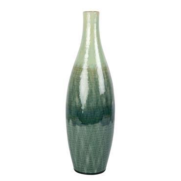 Vase en grès dégradé vert et blanc H46