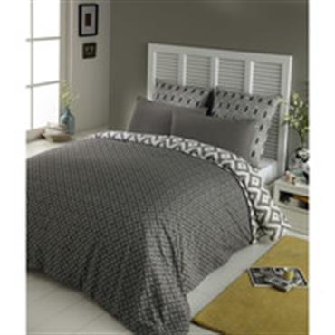 Parure de lit 220 x 240 cm en coton grise