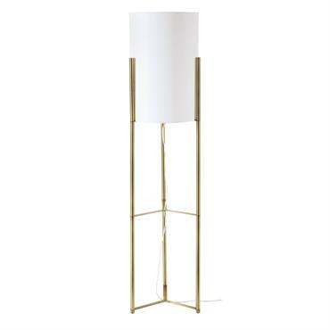 Lampadaire en métal doré abat-jour tambour blanc H140
