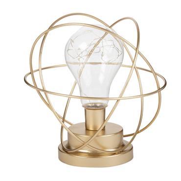 Déco lumineuse sphère en métal doré avec ampoule LED