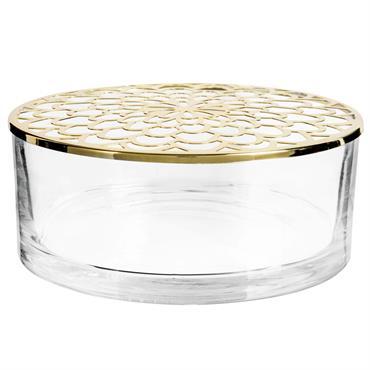 Boîte en verre et métal ajouré doré