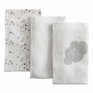 3 langes bébé en coton blanc 70 x 70 cm SONGE