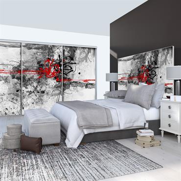 Porte de placard coulissante 3 vantaux en aluminium et toile tendue