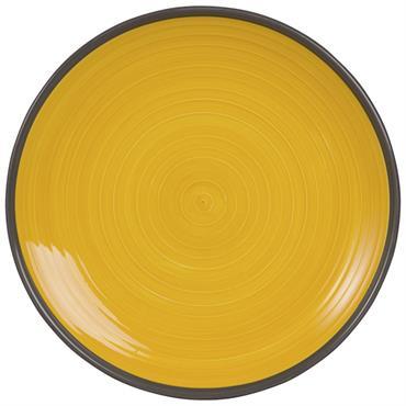 Assiette plate en faïence jaune