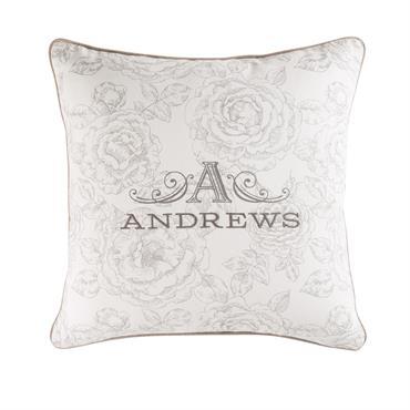 Coussin en coton blanc motifs fleurs 45x45