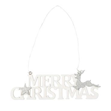 Suspension de Noël mot blanc et motifs argentés