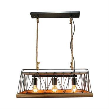 Suspension 3 lumières métal/bois/corde L59cm