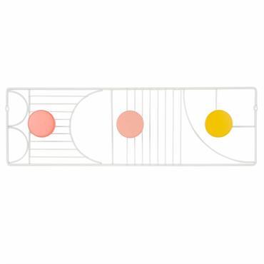 Patère 3 crochets en hévéa multicolore et métal blanc