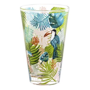 Chope en verre imprimés toucan/jungle