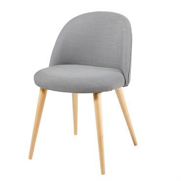 Chaise vintage grise et bouleau massif Mauricette