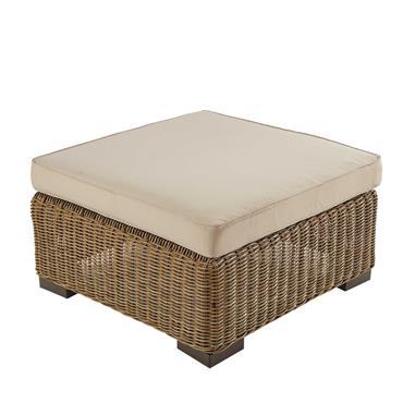 Pouf de jardin en résine tressée et tissu beige sable Fidji