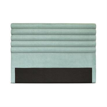 Tête de lit design en tissu bleu - 140cm