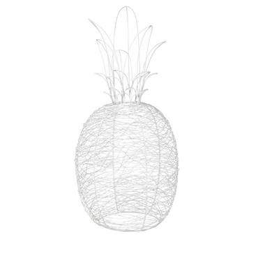 Déco de jardin ananas en métal blanc H62