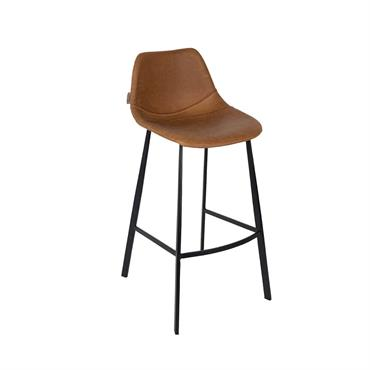 Chaise de bar aspect cuir marron