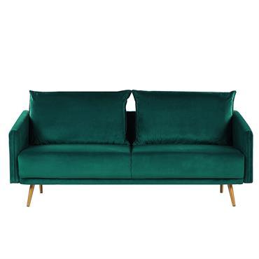 Canapé 3 places en velours vert émeraude