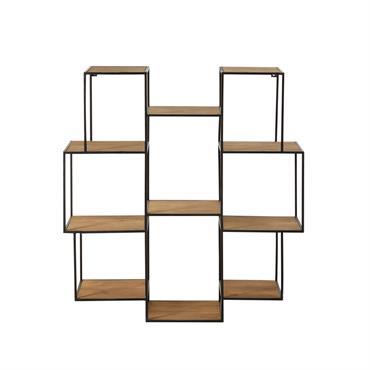 Donnez de l'allure à votre déco grâce à l' étagère déstructurée en métal noir ACOMA ! On adore sa forme atypique mélangeant bois et métal qui lui donne du mouvement ...