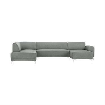 Canapé d'angle droit 6 places toucher lin gris